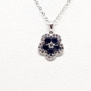 18 kt. White gold - Necklace with pendant - 1.25 ct Diamond - Sapphire