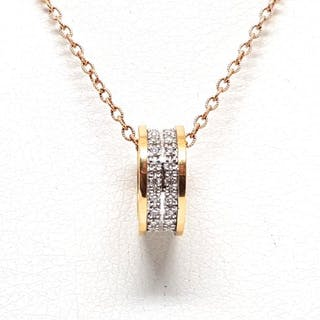 18 kt. Bicolour - Necklace with pendant - 1.00 ct Diamond