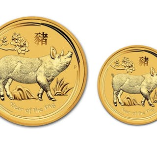 Australia - 5 & 15 Dollars 2019 Year of the Pig (2 coins)...