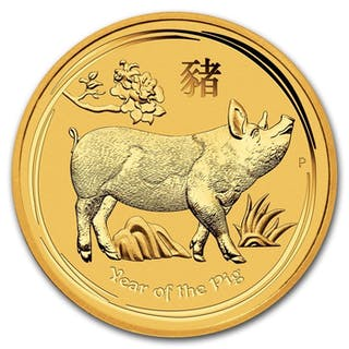 Australia - 15 Dollars 2019 Year of the Pig - 1/10 oz - Gold