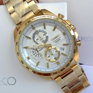 Seiko - Gold Plated Chronograph Date White Dial - Men - 2011-present