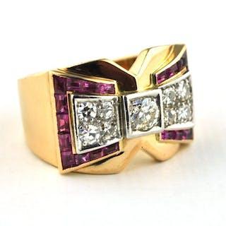 18 kt. Yellow gold - Ring Diamond - Diamond, Ruby