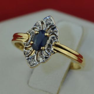 *Low Reserve Price* - 18 kt. Yellow gold - Ring Sapphire - Diamond