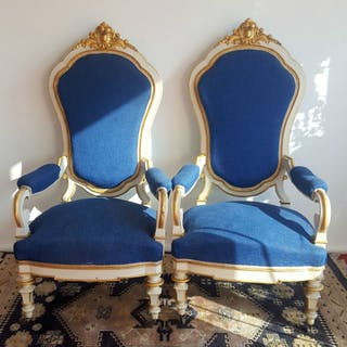 Pair of armchairs throne Louis XV style