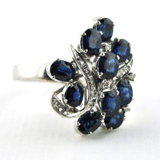 18 kt. White gold - Ring Sapphire - Diamond