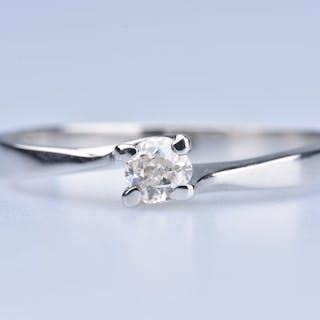 18 quilates Oro blanco - Anillo - 0.15 ct Diamante