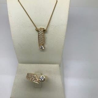 14 kt. Yellow gold - Necklace with pendant, Ring - 1.88 ct Diamond - Diamonds