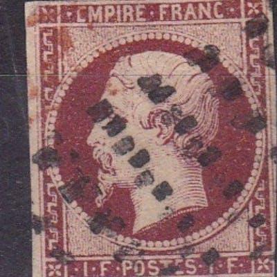Francia 1853 - Napoléon III 1fr velours - Calves certificate - Yvert 18g