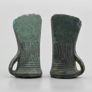 Pair of Bronze AgeBronze Socketed Axe Heads with Decoration