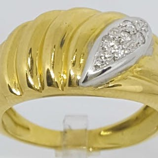 18 quilates Oro amarillo, Oro blanco - Anillo - 0.07 ct Diamante