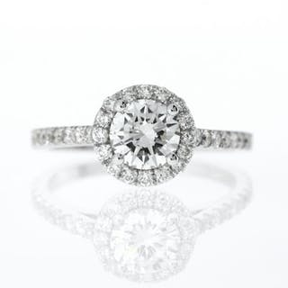 14 kt. White gold - Ring - 1.30 ct Diamond - Diamonds