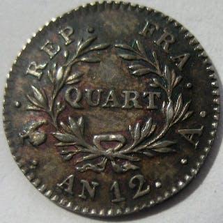 France - 1/4 Franc An 12-A (Paris) Bonaparte Premier Consul - Silver