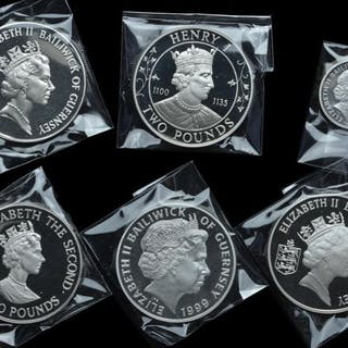 Guernsey - 1 + 2 + 5 Pounds 1985/2001 Elizabeth II (6 different)- Silver