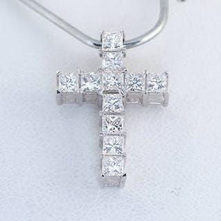 14 kt. White gold - Pendant - 1.01 ct Diamond