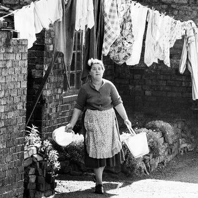 John Bulmer (1938-)- Woman & washing line UK, Ironbridge, 1962