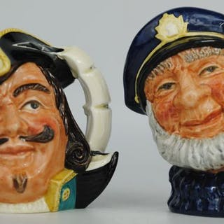 "Royal Doulton - Paar Charakterkrüge ""Old Salt"" & ""Capt Henry Morgan"" - Keramik"