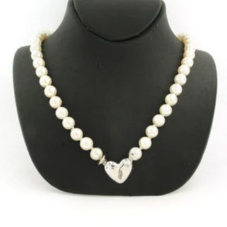 18 kt. White gold - Necklace - 0.20 ct Diamond - Pearl