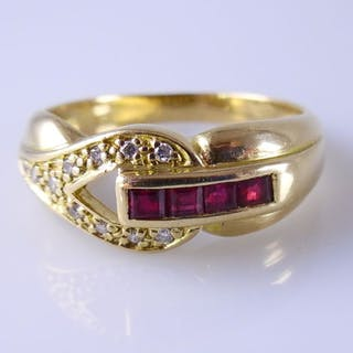 18 kt. Yellow gold - Ring - 0.36 ct Ruby - Diamond