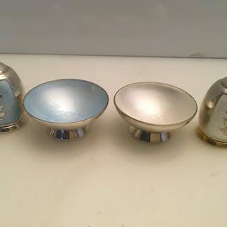 Vintage Sterling silver & Guilloche Enamel 4 Piece salt...