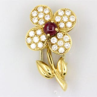 Van Cleef & Arpels Yellow gold - Brooch Ruby, Diamonds Invoice