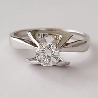 F VVS1-VVS2 - 18 quilates Oro blanco - Anillo - 0.40 ct Diamante
