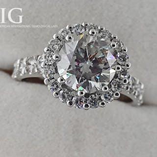 14 kt. White gold - Ring - Clarity enhanced 2.06 ct Diamond - Diamonds