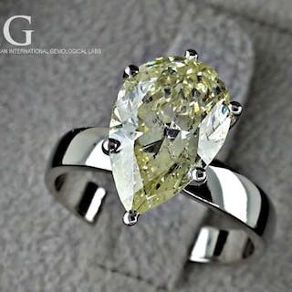 14 kt. White gold - Ring - Clarity enhanced 3.42 ct Diamond
