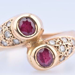 18 kt. Yellow gold - Ring - 0.22 ct Ruby - Diamond
