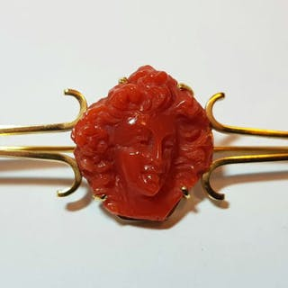 Made in Italy - Red Coral and 18k Yellow Gold - Brooch, Cameo