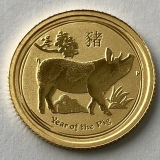 Australia - 15 Dollars 2019 - Year of the Pig - 1/10 oz - Gold