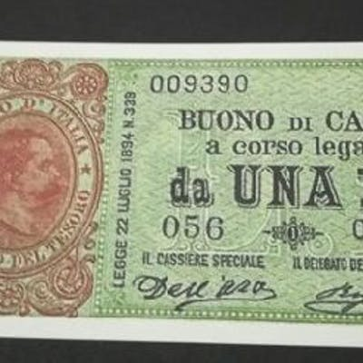 Italia - 1 Lira 21-09-1894  -  Gigante BS 2B