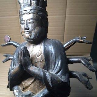 Standing figure - Wood - Ancient Multi Armed Bodhisattva...