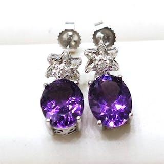 14 kt. White gold - Earrings - 3.15 ct Amethyst - Diamond