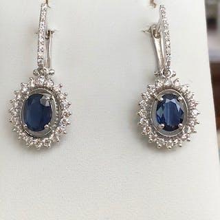 18 kt. White gold - Earrings - 2.00 ct Sapphire - Diamond