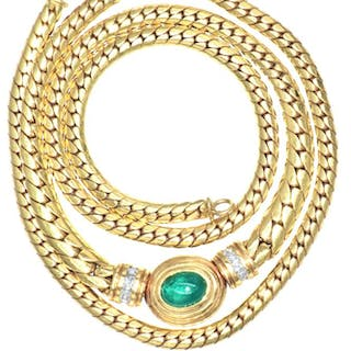 18 kt. Yellow gold - Necklace - 1.02 ct Emerald - Diamonds