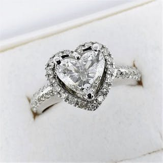 18 kt. White gold - Ring - 0.91 ct Diamond - Diamonds