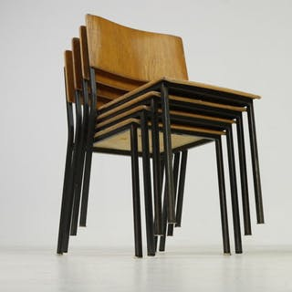 Industrial design, set of 4 stackable old school chairs