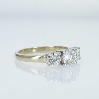 18 kt. white & Yellow Gold - Ring - Clarity enhanced 1.45 ct Diamond - Diamonds