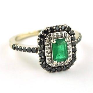 14 kt. White gold - Ring Emerald - Diamond
