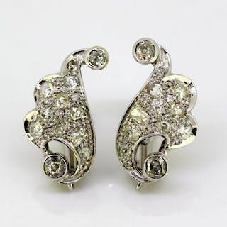 18 kt. White gold - Earrings - Diamonds