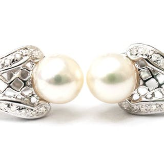 14 kt. Akoya pearls, White gold, 7,5 mm - Earrings Pearl - Diamond