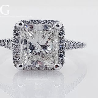 14 kt. White gold - Ring 3.68 ct Diamond