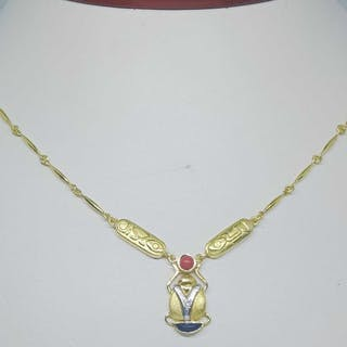 18 kt. Yellow gold - Necklace - 0.01 ct Diamond - coral and onyx