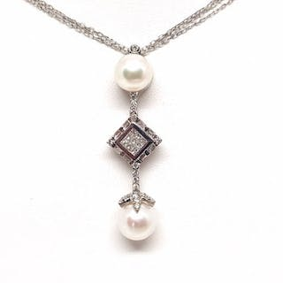 18 kt. White gold - Necklace with pendant - 2.06 ct Diamond - Pearl