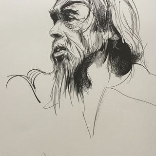 """Raymond Moretti  - Brel."""" Le Seigneur de la Mancha """" à la plume (1985 )"""