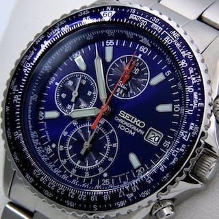"""Seiko - Pilot Chronograph Blue 100M - - """"NO RESERVE PRICE"""" - - Men - 2018"""