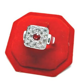 18 kt. White gold - Ring - 0.25 ct Ruby - Diamonds