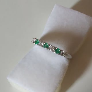 18 kt. White gold - Ring Emeralds - Diamonds