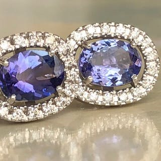 18 kt. White gold - Earrings - 2.80 ct Tanzanite - Diamond