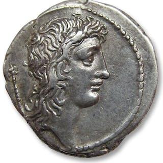Roman Republic - AR Denarius, Q. Cassius Longinus, Rome 55 B.C.- Silver